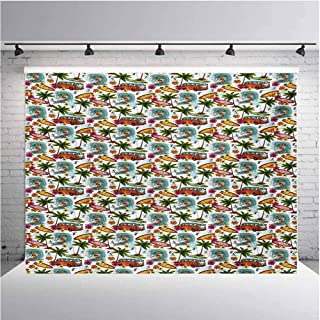 Abstract Photography Background Cloth Surf Themed Vibrant Image Vintage Van and Flower Arrangement Seagulls Action Hob for Photography,Video and Televison 12ftx8ft Multicolor