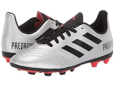 adidas Kids Predator 19.4 FxG Soccer (Little Kid/Big Kid) (Silver/Black/Hi-Red Red) Kids Shoes