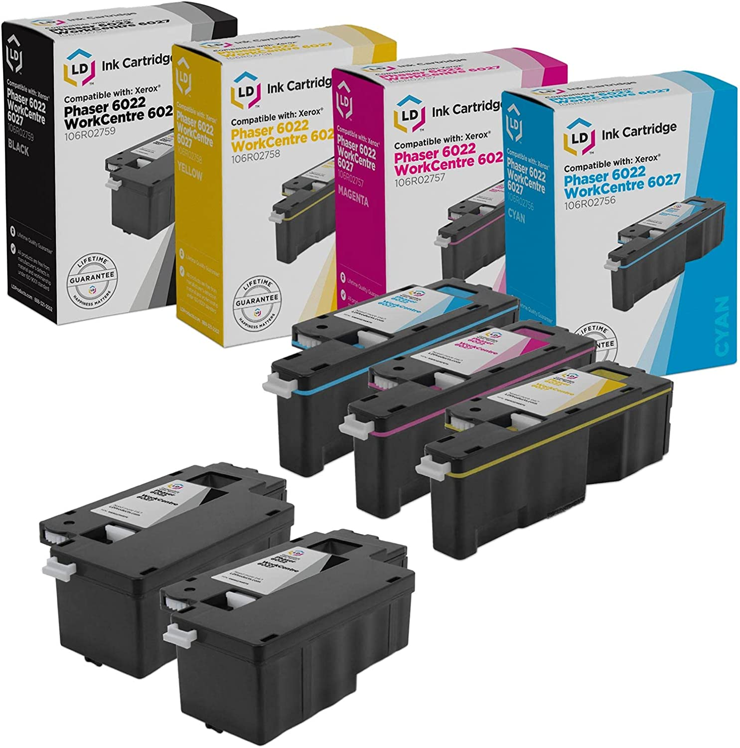 LD Remanufactured Replacements for Xerox Phaser 6022 & WorkCentre 6027 (2 Black, 1 Cyan, 1 Magenta, 1 Yellow, 5-Pack)