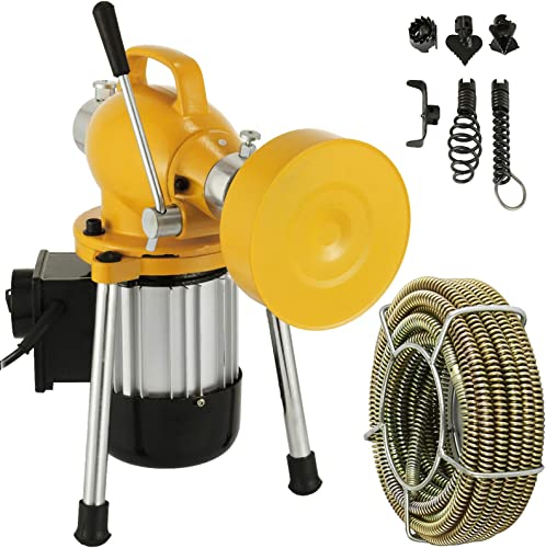 """2021 Mophorn 3/4""""-4"""" Sectional Pipe Drain Cleaning Machine 400PRM Snake Cleaner Pipe Drain Cleaning Machine with sale 66' x 2/3'' Galvanize Cable Heavy discount Duty (Yellow Color) online"""