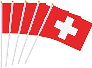 25 Pack Hand Held Small Mini Flag Switzerland Flag Swiss Flag Stick Flag Round Top National Country Flags,Party Decorations Supplies For Parades,World Cup,Festival Events ,International Festival