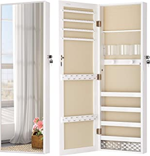 LUXFURNI Mirror Jewelry Cabinet Wall-Mount/Door-Hanging Armoire, Full length Mirror Lockable Makeup Storage Organizer w/Co...