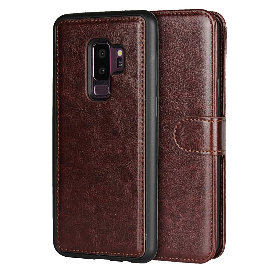 Samsung Galaxy S9 Plus Case,iCoverCase New Version Crazy Horse Pattern [ 2 in 1 ][Removable Soft TPU Silicone Cover] Premium Quality Leather Wallet Flip Kickstand Case (Brown)