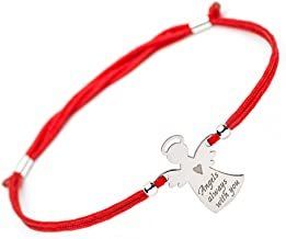 SOLOMIYA Guardian Angels Protective Bracelet - Praying Angel Silver Charm - Inspirational Handmade Bangle - Evil Eye Protection String - Red Rope for Women Girls Boy Teen Sister