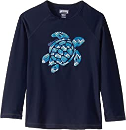 Glassy Herringbone Turtles Rashguard (Toddler/Little Kids/Big Kids)