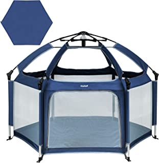 Hoybell Baby Playpen, Portable Playard Indoor and Outdoor, Safety Lock, Washable 6-Panel Kids Playpen with Carry Case, Canopy, and Play Yard Mattress Included