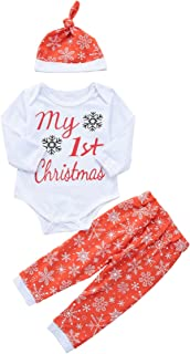 Younger Tree 3Pcs Newborn Baby Girls Cotton Long Sleeve Outfit My 1st Christmas Bodysuit +Long Pant +Hat