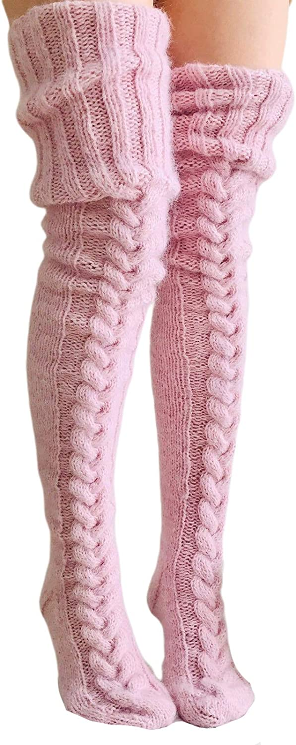 Women's Cable Knit Thigh High Boot Socks Extra Long Winter Stockings Leg Warmers