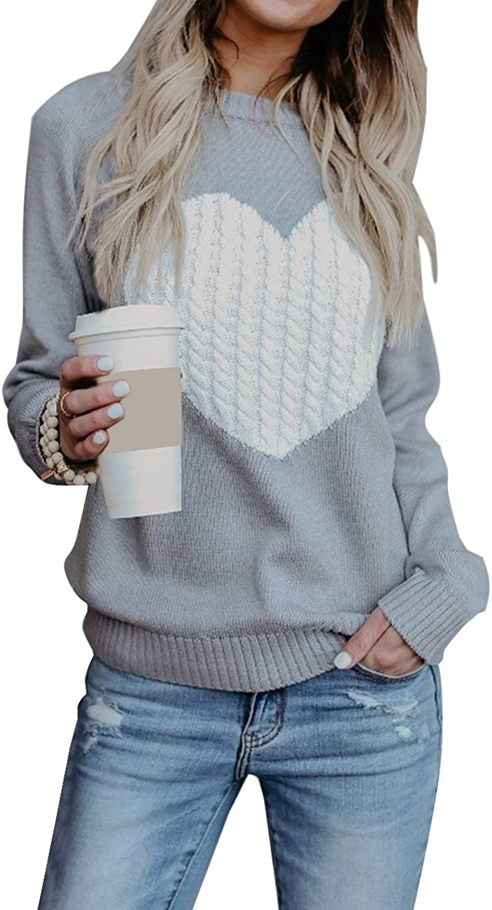 Alsol Lamesa Women Sweaters Heart Front Crew Neck Long Sleeve Knitted Pullover Sweater