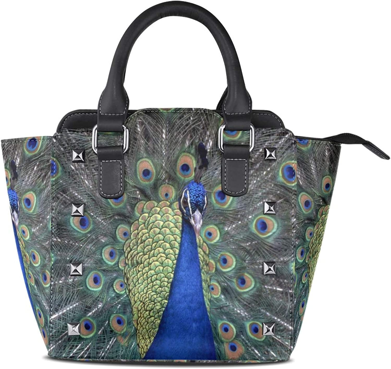 Leather Peacock Tree Flower Rivet Handbags Tote Bag Shoulder Satchel for Women Girls