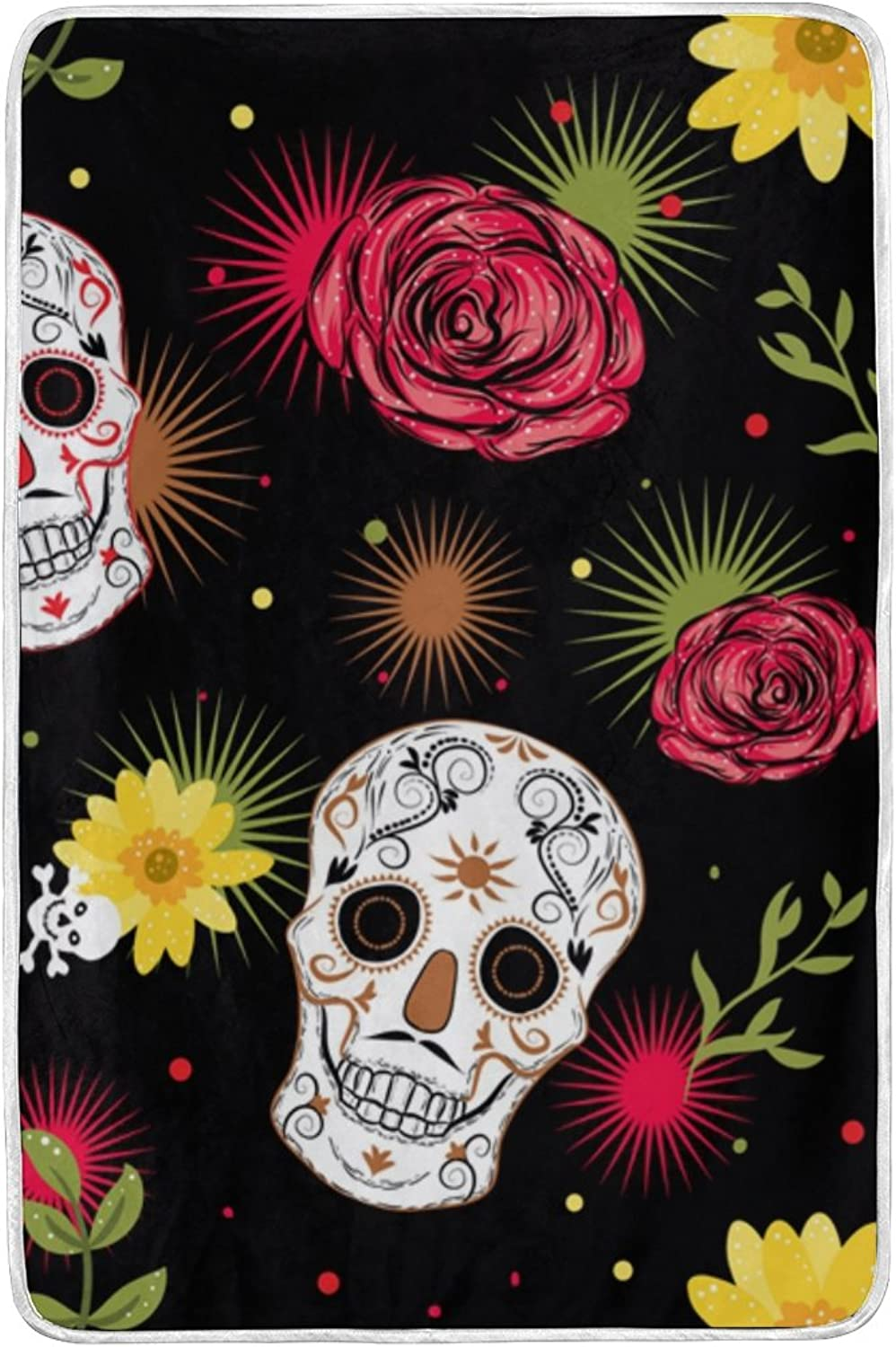 JSTEL Mexican Skull pink Lightweight Blanket for Adults Men Women Girls Kids Girls Boys Teens Bed Extra Soft Polyester Fabric Super Warm Sofa Blanket Throw Size 60 x 90 Inch