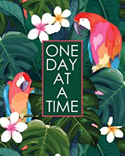 One Day at a Time - 18 Month Planner: Island Parrots Recovery Oriented Daily Weekly and Monthly Views with Notes and Dot G...