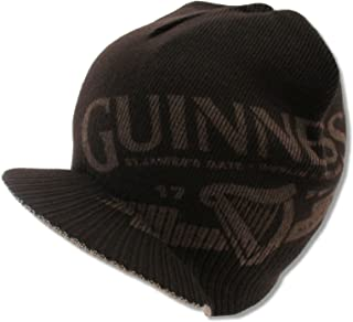 f2c4d829234 Bioworld Adult Guinness Beer Clover Billed Brim Brown Reversible Beanie Hat