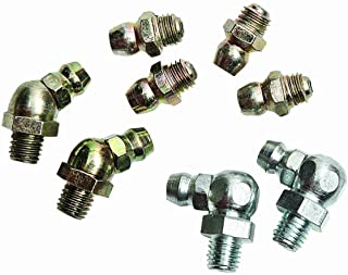 "Lumax LX-4801 Gold/Silver (SAE) 1/4""-28 Taper Thread 8 Piece Grease Fitting Assortment"
