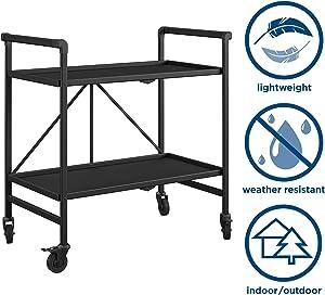 Cosco Outdoor Living INTELLIFIT Outdoor Or Indoor Folding 2 Shelves, Black Serving Cart