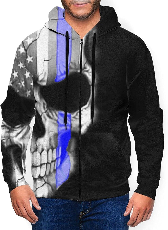 Hello Gorgeous Full-Zip Sweatshirt Hoodie Max 42% OFF For Flag Los Angeles Mall Skull Men Blu