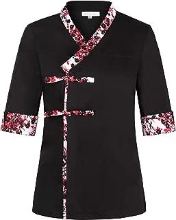 Black Sushi Chef Coat with Flower Pattern for Women Japanese Restaurant Uniform with Kimono Collar