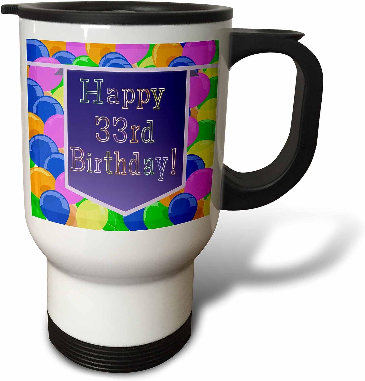 3dRose Balloons with Purple Banner Happy 33Rd Birthday Travel Mu