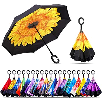 Double Layer Inside Out Folding Umbrella Upside Down Umbrellas with C-Shaped Handle for Women and Men Reverse Inverted Windproof Mandala Purple Yellow Red Umbrella