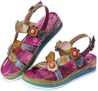 dd26710f3525ab Camfosy Sandales Cuir Femmes Plates,Chaussures de Ville Marche Été Talons  Plats Compensées Semelle Confortable