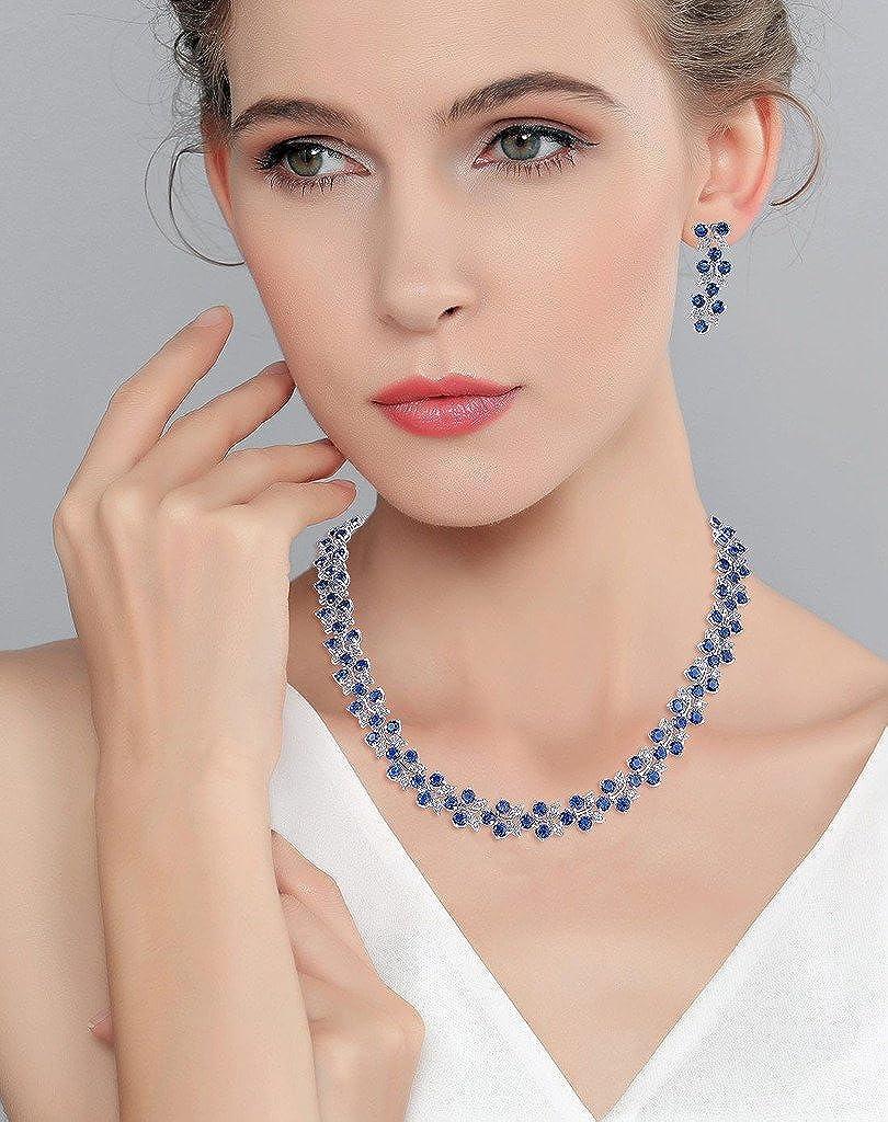 EVER FAITH Women's Cubic Zirconia Floral Leaf Wedding Necklace Earrings Set