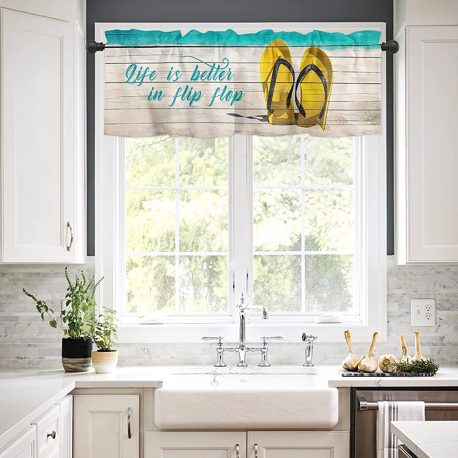 Rod Bombing new work Pocket Window Valances Curtains Coastal Shipping included Kitchen for B Summer