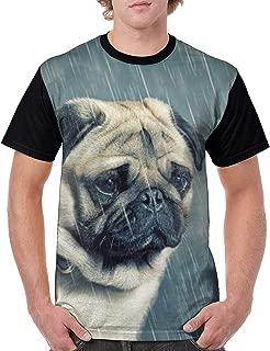 Sad Pug Rain Ranning Dog Mens 3D Print T-Shirt Short Sleeve Graphic Summer Tee