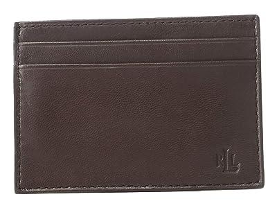 LAUREN Ralph Lauren Burnished Kid Card Case w/ Money Clip (Brown) Wallet Handbags
