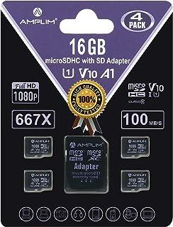 Amplim 4 Pack 16GB Micro SD SDHC Memory Card Plus Adapter (Class 10 U1 UHS-I V10 A1 Pro MicroSD HC) 4X 16 GB Ultra High Sp...