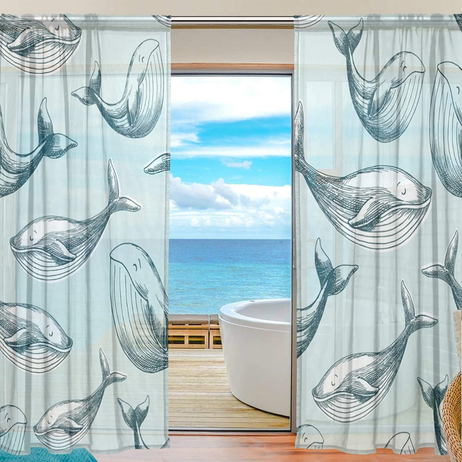 Whale Pattern 2 Pieces Curtain Panel 55 x 78 inches for Bedroom Living Room