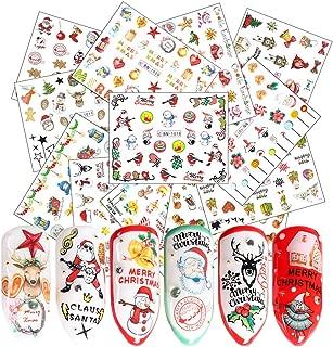 Christmas Nail Art Stickers Winter Xmas Nail Decals 12 Sheets Santa Claus Snowman Bell Elk Tree Sock Snowflake Water Transfer Nail Tattoos DIY Nail Art Accessories for Women Fingernails Decorations