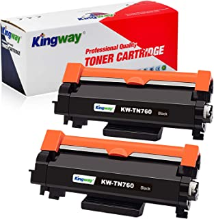 Kingway(with CHIP) Compatible Toner Cartridge Replacement for Brother TN760 TN730 Work with HL-l2350dw HL-l2370dw HL-l2390dw HL-l2395dw DCP-l2550dw MFC-l2750dw MFC-l2710dw (Black, High Yield, 2-Pack)