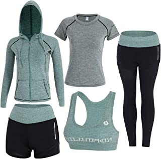 Onlyso Women's 5pcs Sport Suits Fitness Yoga Running Athletic Tracksuits