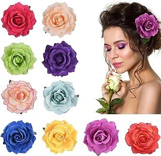 URAQT 10 stuks bloemen-haarspelden, haarclip bloem meerkleurige rozen haarspelden haaraccessoires voor meisjes vrouwen par...