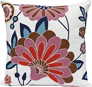 Best Bohemia Exotic Embroidery Decorative Pillow Cover 18x18 - Exquisite Handmade Cotton Cushion Cover, Modern Plant Floral Patterns Decor Couch Home, Boho Embroidered Art Square Pillowcase Review