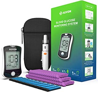 AUVON DS-W Blood Sugar Kit (No Coding Required), High-Tech GDH Diabetes Blood Glucose Meter with 50 Test Strips, 50 30G Lancets, Lancing Device and Hard Case