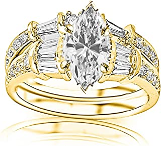 1.58 Carat t.w. GIA Certified Marquise Cut 14K White Gold Baguette and Round Brilliant Diamond Engagement Ring and Wedding Band Set (I-J Color VS1-VS2 Clarity)