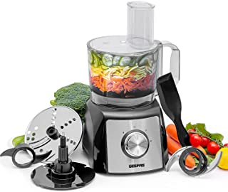 Geepas 1200W Compact Food Processor | Multifunctional Electric Food Mixer with Chopper Knead Dough Shredder Slicing Gratin...