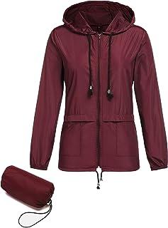 bb7e39eb79f Romanstii Womens Lightweight Jacket Waterproof Raincoat Outdoor Hooded  Windproof Zipped Windbreaker with A Carry Pouch