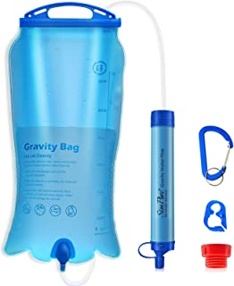 SimPure Gravity Water Filter Straw, Portable Water Purification Filtration System with 3L Gravity-Fed Bag, BPA Free Outdoo...