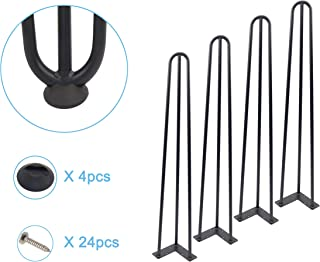 Mrhardware Black Hairpin Metal Table Legs, Height 34 Inches 1/2 inch of Cold-Rolled Steel Bending -(Set of 4)(H34