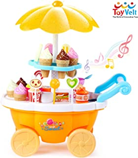 ToyVelt Ice Cream Toy Cart Play Set for Kids - 59-Piece Pretend Play Food - Educational Ice-Cream Trolley Truck with with Music & Lighting - Great Gift for Girls and Boys Ages 2 - 12 Years Old