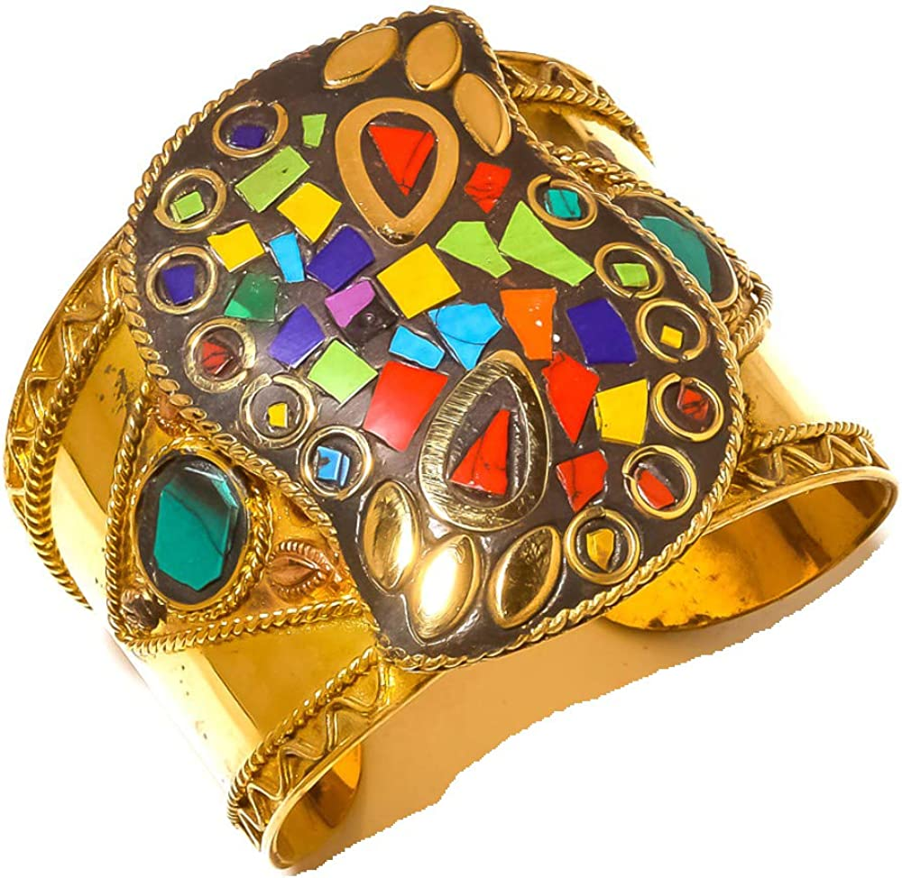 TIBETIAN JEWELRY CUFF HANDMADE BRACELET Free Size Turquoise, Malachite, Coral MULTI-STONE NEPALI WORK Brass Metal Art Jewelry Full Variety Store