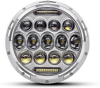 QUAKEWORLD Motorcycle 7 Inch LED Headlight for Harley Davidson Adaptive LED Headlamp Chrome   Also Fits Jeep Wrangler