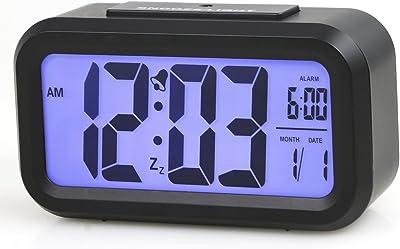 TRIXES Despertador LCD Reloj Negro diseño minimalista