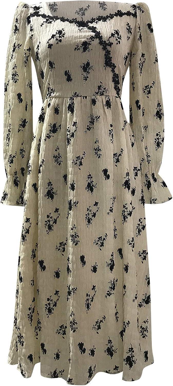 XUETON Kansas City Mall Womens Long Sleeve Maxi Loose Elegant Dress Floral Baltimore Mall Casual