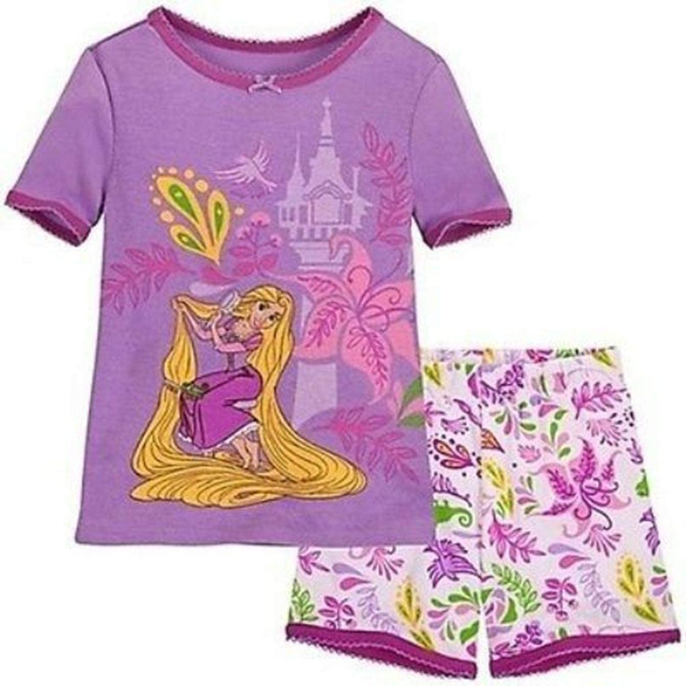 Disney Store Princess Rapunzel Tight Fit Cotton Pajama Set Girl Size 7