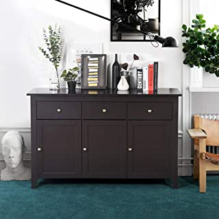 """Wooden Sideboard with 3 Drawers and 3 Cabinets Buffet Storage Cupboard Modern Console Table TV Stand for Dinning Room Living Room Entryway, 54""""x17.7""""x33.5"""", Espresso"""