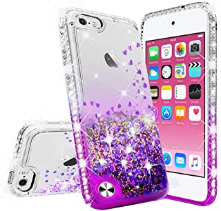 Wydan Case Compatible for Apple iPod Touch 7th, 6th, 5th Generation - Glitter Hybrid Shockproof Liquid Quicksand Bling Phone Cover with Tempered Glass Screen Protector