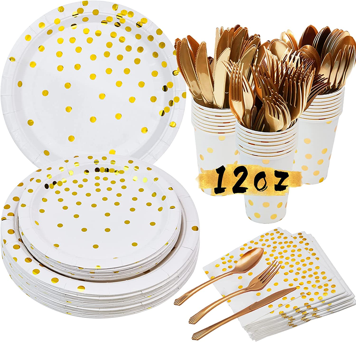 White Gold Party Supplies Set -175 Piece Disposable Party Paper Tableware With Paper Plates, Napkins,12 oz Cups,Forks,Knives,Spoons-Dinnerware Set For Birthday Wedding Baby Shower Party Decoration